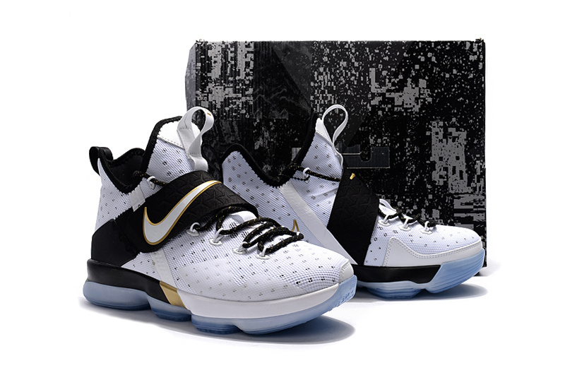 Men Nike Lebron James 14 White Black Gold Shoes