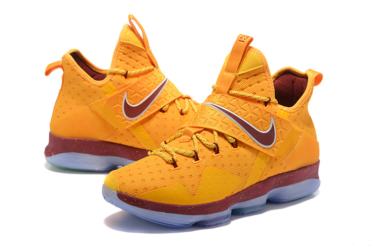 Men Nike Lebron James 14 Yellow Wine Red Shoes Nbaketball755 82 00 Real Nike Running Shoes Nike Running Shoes