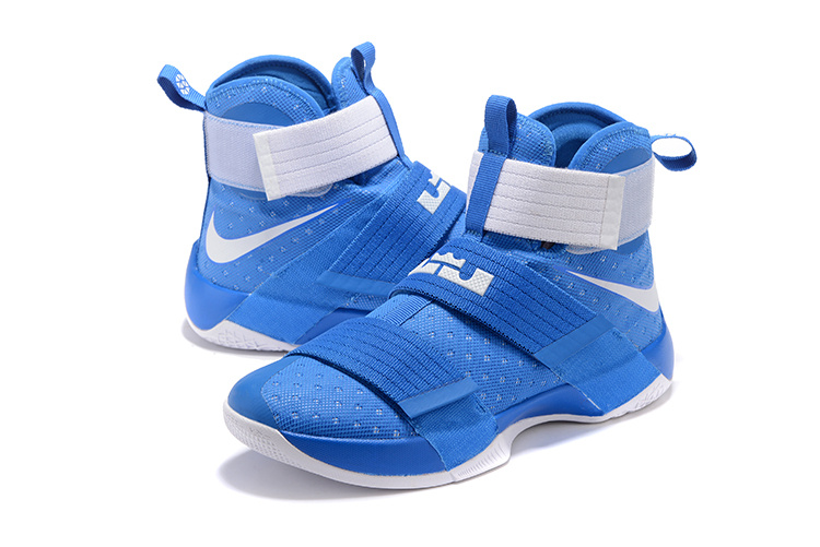 Men Nike Lebron James Soldier 10 All Blue White Shoes