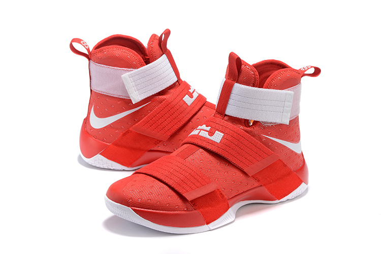 Men Nike Lebron James Soldier 10 All Red White Shoes