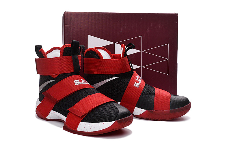 Men Nike Lebron James Soldier 10 Black Red Basketball Shoes