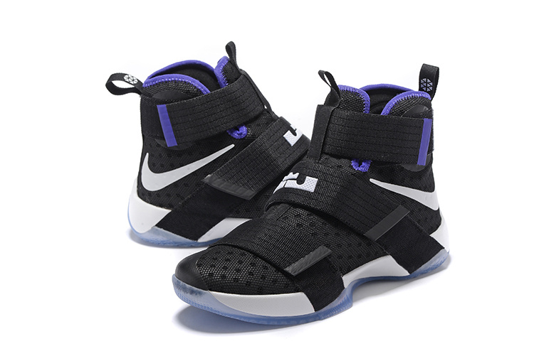 Men Nike Lebron James Soldier 10 Black Royal Blue White Shoes