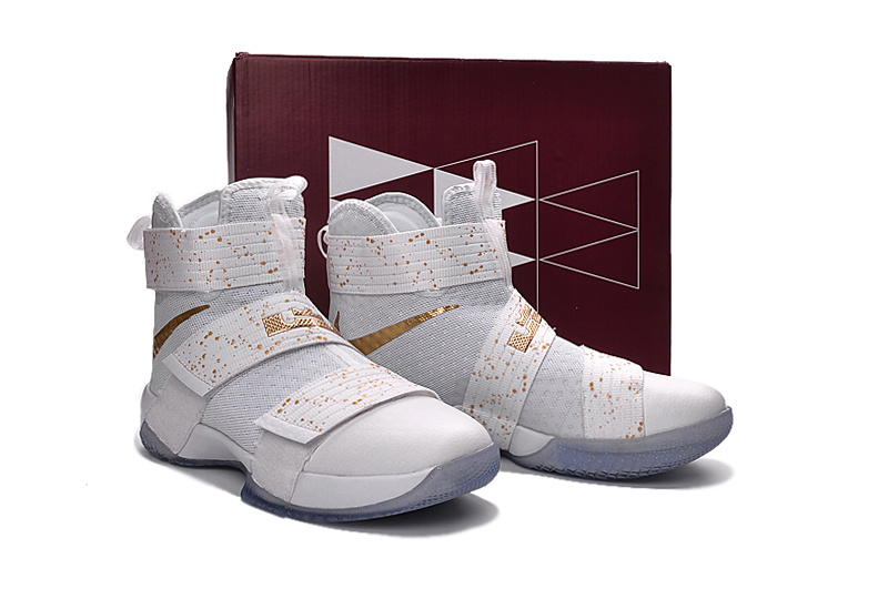 111d3d30bcd Men Nike Lebron James Soldier 10 White Gold Basketball Shoes ...