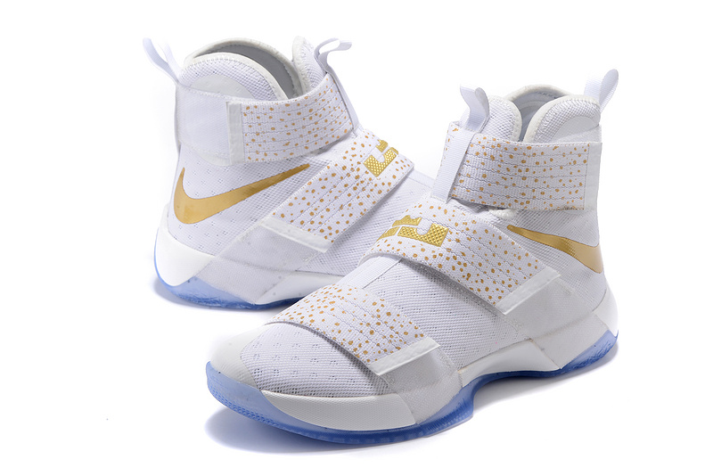 Men Nike Lebron James Soldier 10 White Gold Point Shoes