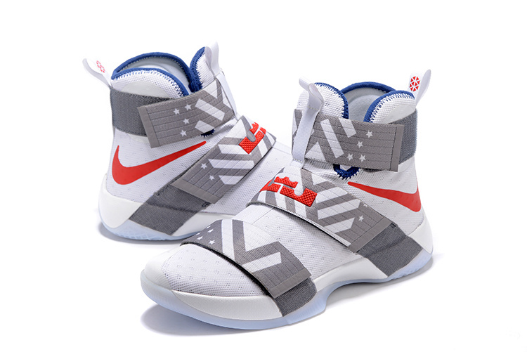 Men Nike Lebron James Soldier 10 White Grey Red Shoes