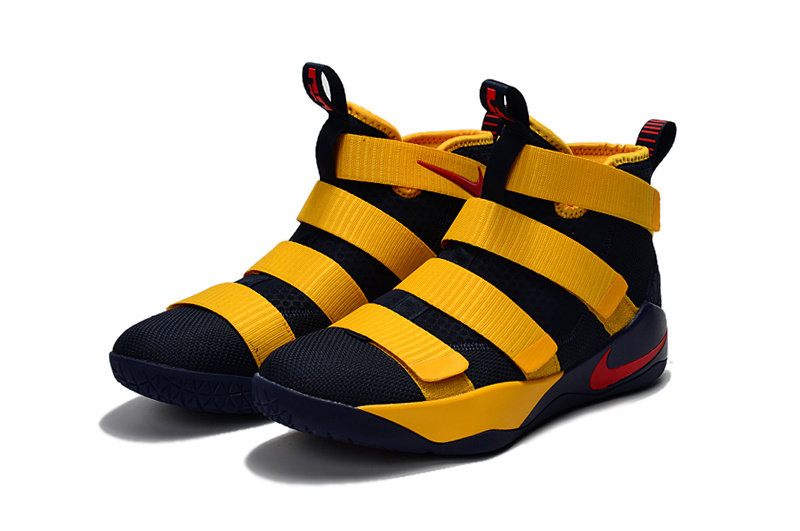 Men Nike Lebron James Soldier 11 Yellow Black Red Shoes