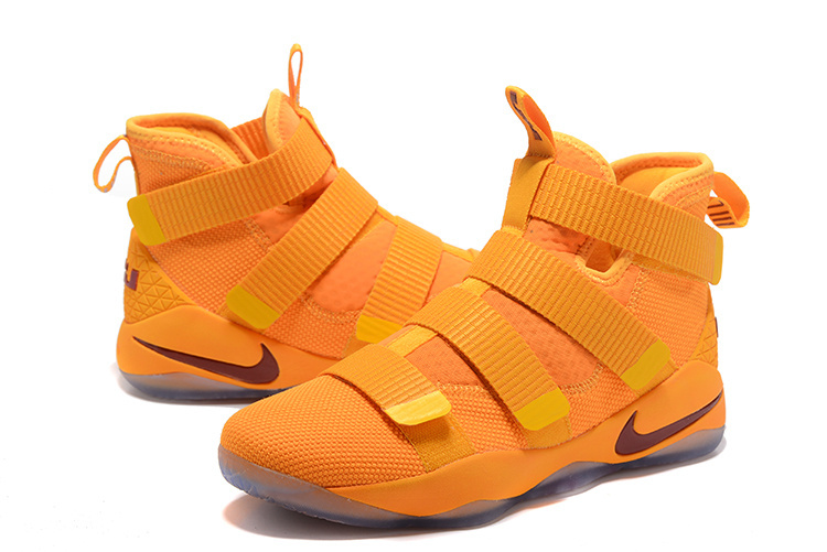 Men Nike Lebron James Soldier 11 Yellow Red Shoes