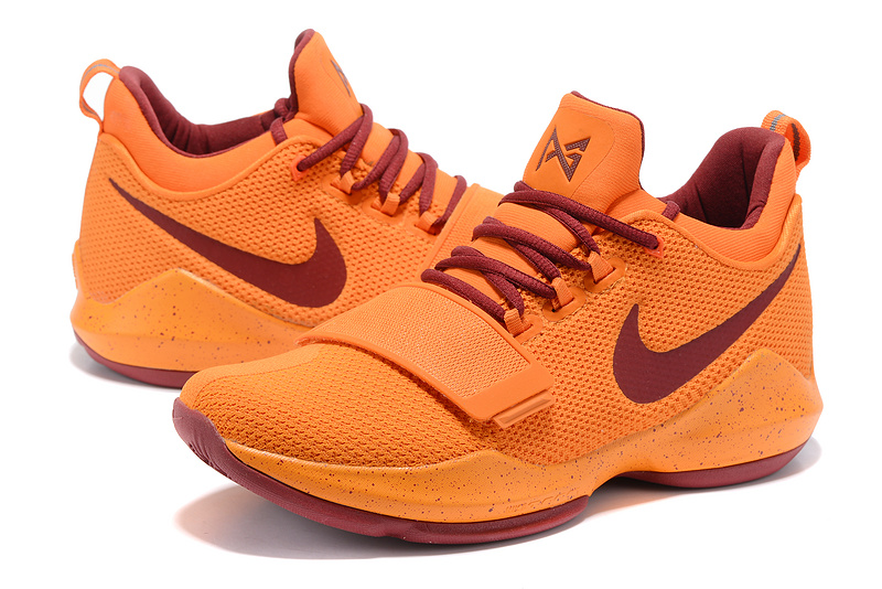 Men Nike PG 1 Orange Wine Red Shoes