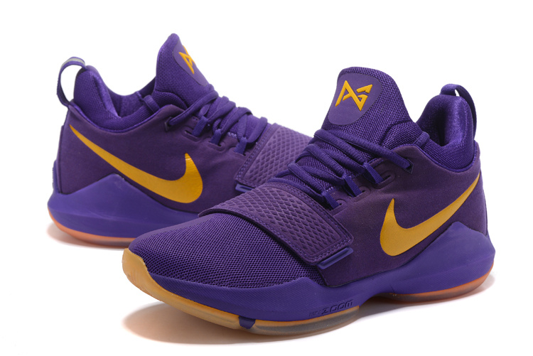 Men Nike PG 1 Purple Yellow Basketball Shoes