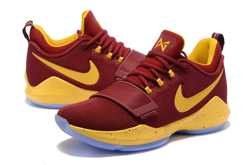 Men Nike PG 1 Wine Red Yellow Shoes