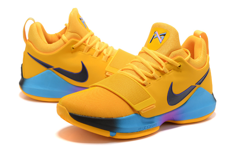 Men Nike PG 1 Yellow Black Blue Basketball Shoes
