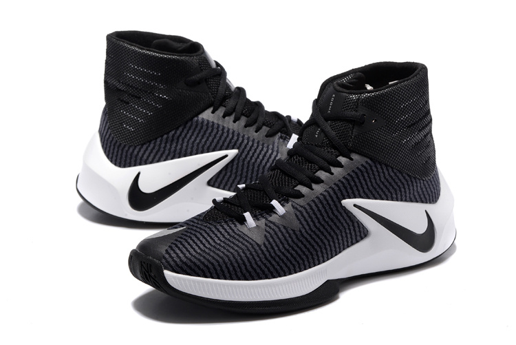 new arrival 2237a d3252 Men Nike Zoom Clear Out Black White Basketball Shoes