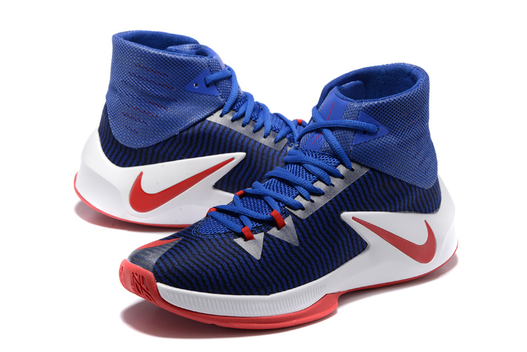 Men Nike Zoom Clear Out Deep Blue White Red Basketball Shoes