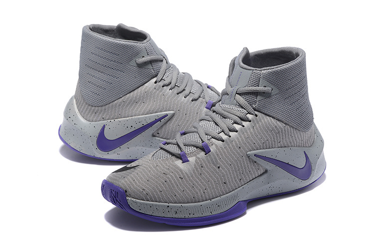 Men Nike Zoom Clear Out Grey Purple Basketball Shoes