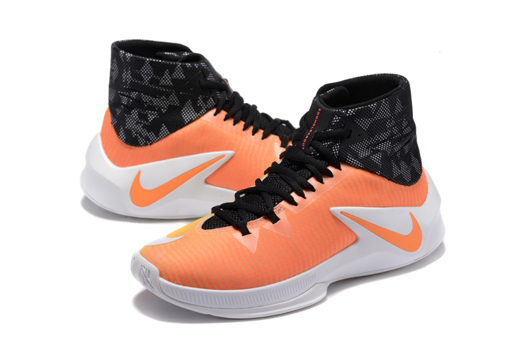 Men Nike Zoom Clear Out Orange Black White Basketball Shoes