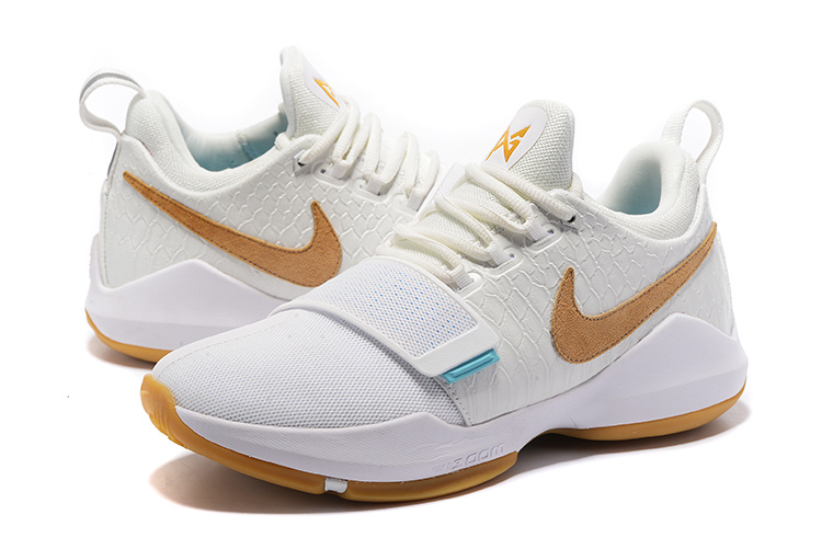 Men Nike Zoom PG 1 White Yellow Shoes