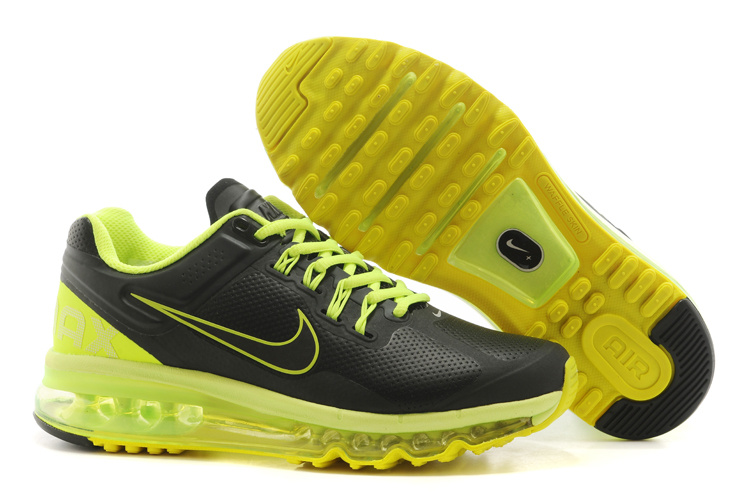 Men Nike Air Max 2013 Black Fluorscent Green Running Shoes