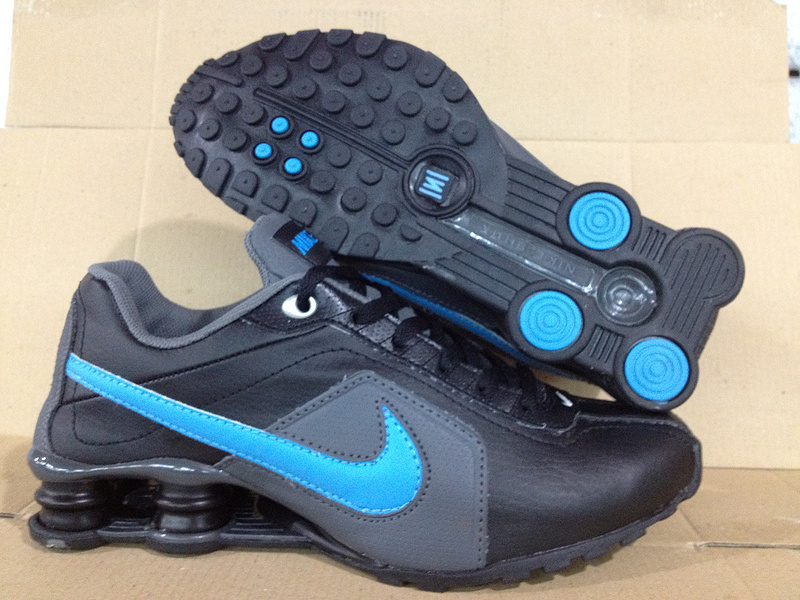Nike Shox R4 Shoes Black Blue Gig Swoosh
