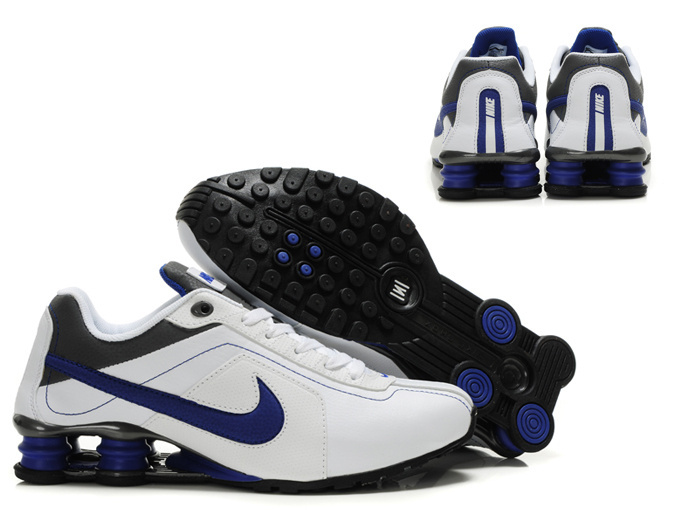 Nike Shox R4 Shoes White Black Blue Swoosh