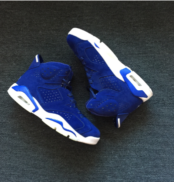 New Air Jordan 6 Royal Blue Suede Shoes
