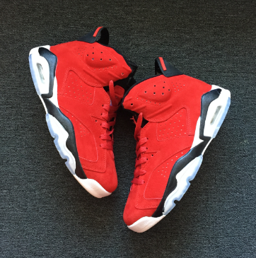 New Air Jordan 6 Toro Red Suede Shoes