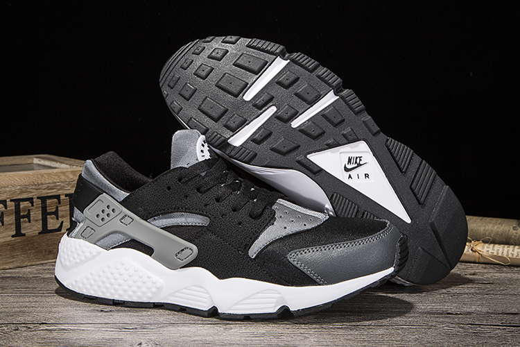 New Women Nike Air Huarache Black Grey White Shoes