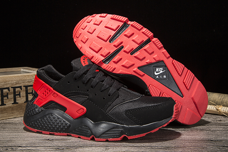 New Women Nike Air Huarache Black Red Shoes