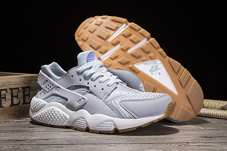 New Women Nike Air Huarache Light Grey Yellow Shoes