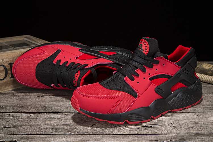 New Women Nike Air Huarache Red Black Shoes