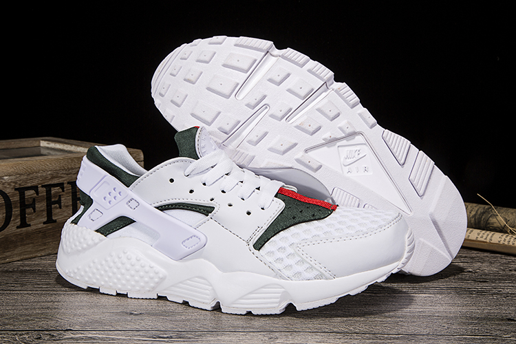 New Women Nike Air Huarache White Green Red Shoes