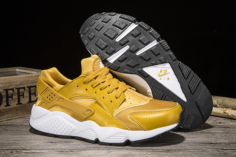 New Women Nike Air Huarache Yellow White Shoes