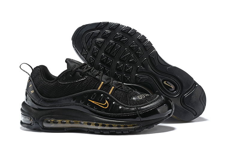 New Nike Air Max 98 Black Yellow Shoes