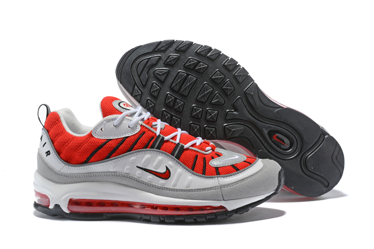 New Nike Air Max 98 Grey Red Black Shoes