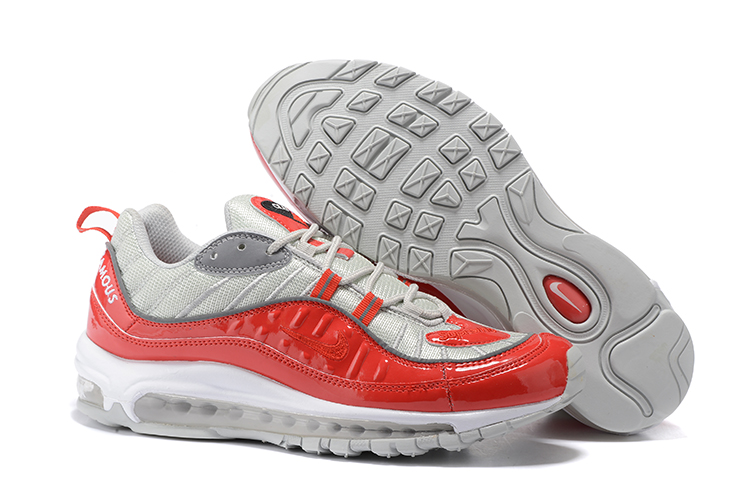 New Nike Air Max 98 Silver Red White Shoes