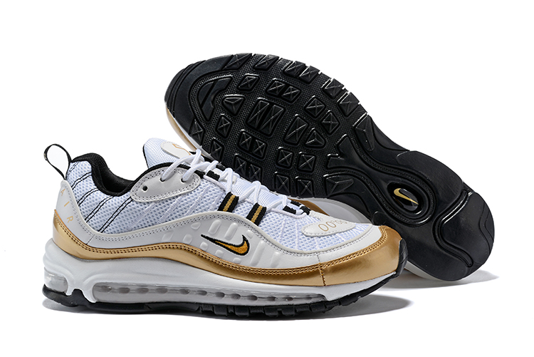 New Nike Air Max 98 White Gold Shoes