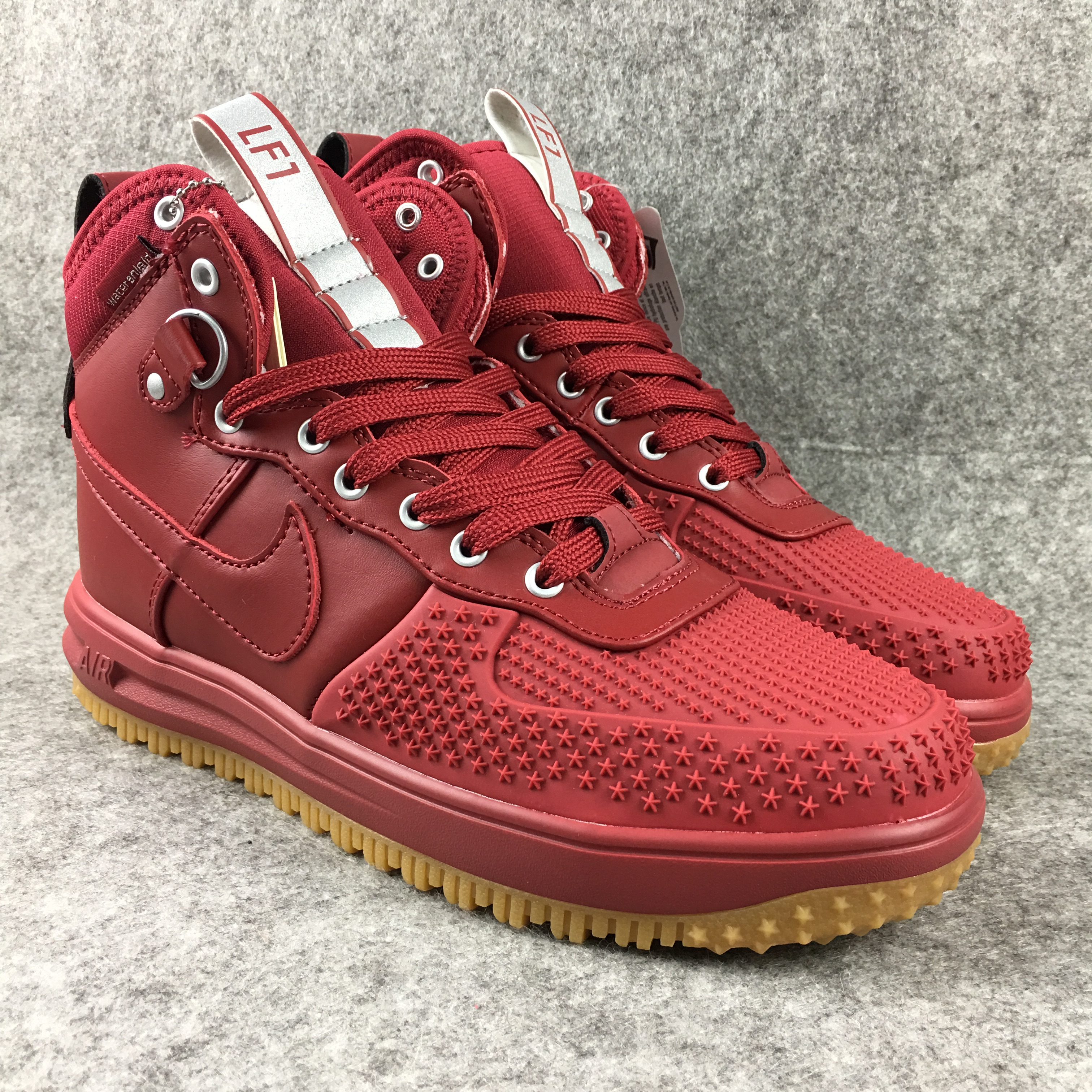 New Nike Lunar Force 1 High All Red Shoes