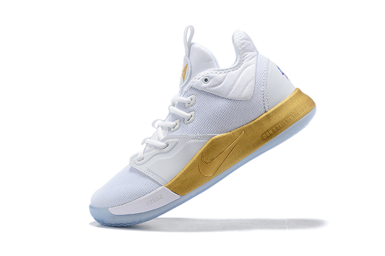 2019 New Nike PG 3 Shoes White Gold