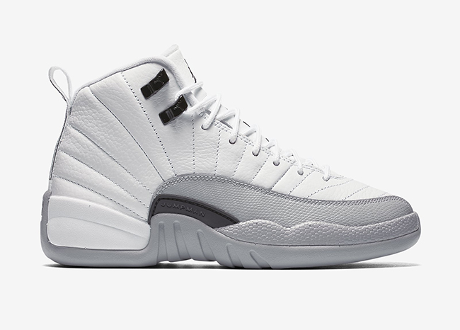 New Air Jordan 12 Barons White Black Wolf Grey