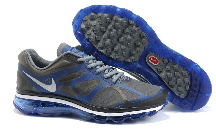 Nike Air Max 2012 Black Blue White Logo Shoes