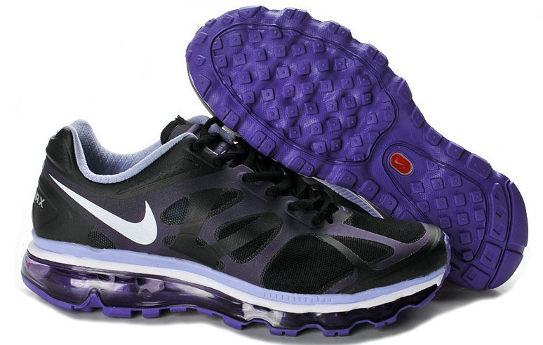 Nike Air Max 2012 Black Purple White Logo Shoes