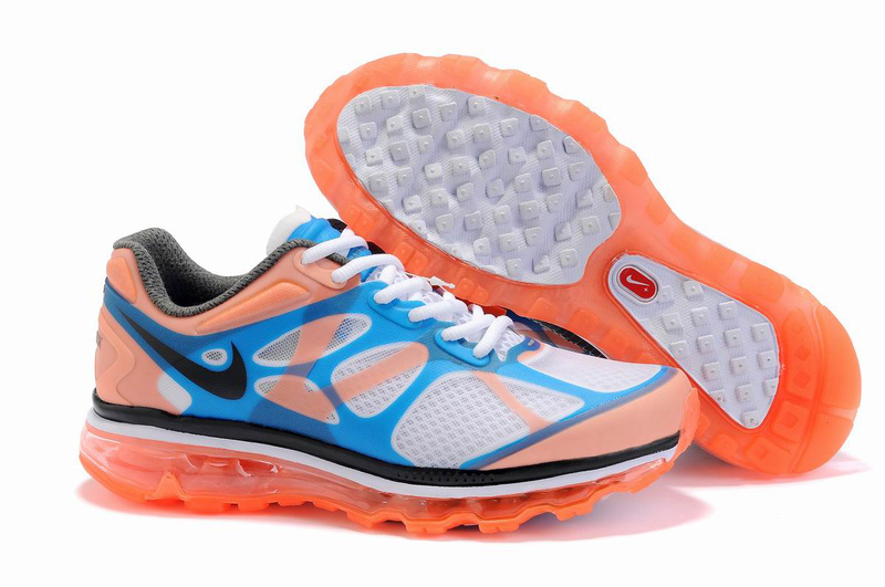 Nike Air Max 2012 White Blue Orange Black Logo Shoes