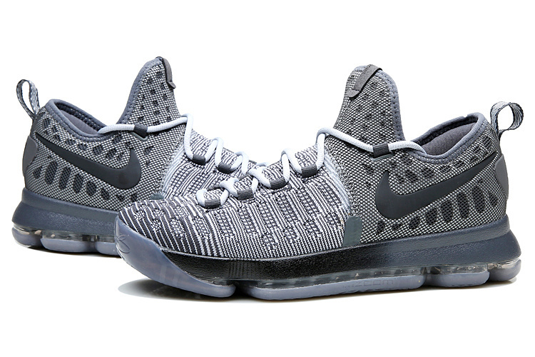 New Men Nike KD 9 Grey Black Basketball Shoes