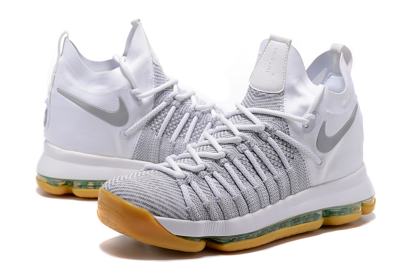 3ccad15641ac New Men Nike KD 9 Grey White Yellow Shoes
