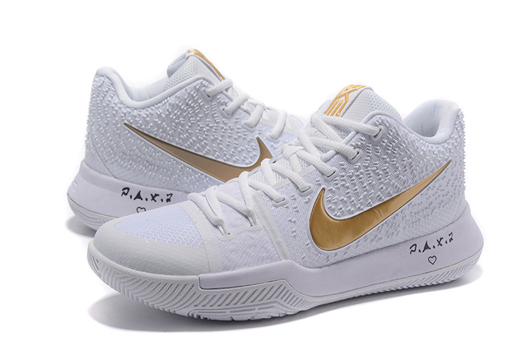New Men Nike Kyrie 3 White Gold Shoes