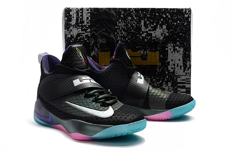 New Men Nike LeBron 11 Soldier Black Blue Pink White Shoes