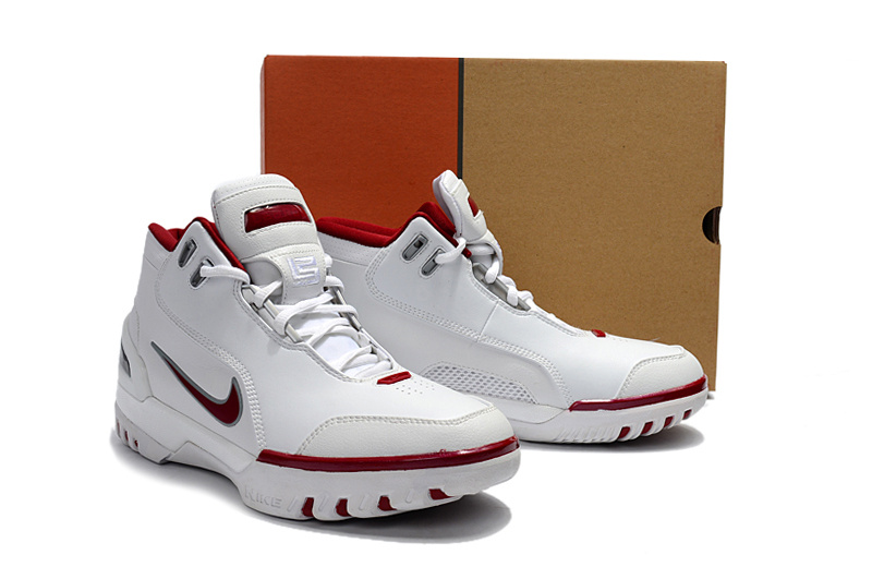 New Men Nike Lebron James 1 White Red Shoes