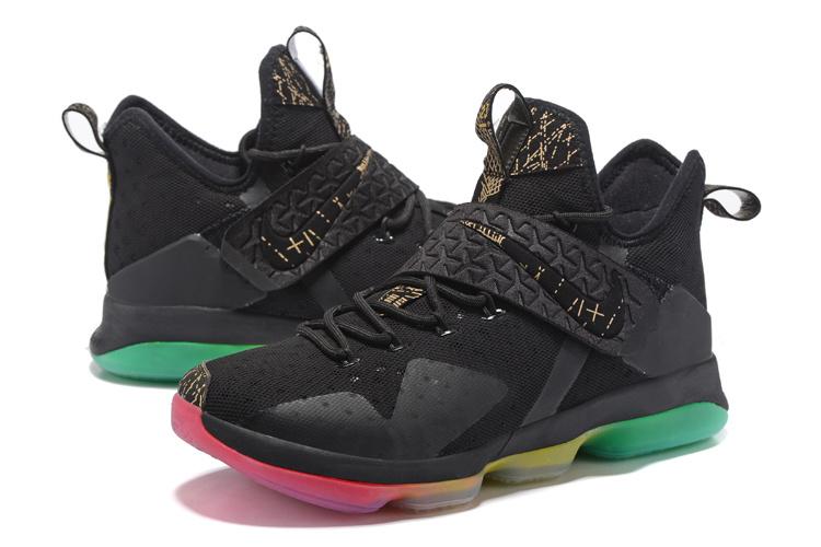 3e25b61973640d New Men Nike Lebron James 14 Black Gold Rainbow Shoes  NBAKETBALL747 ...