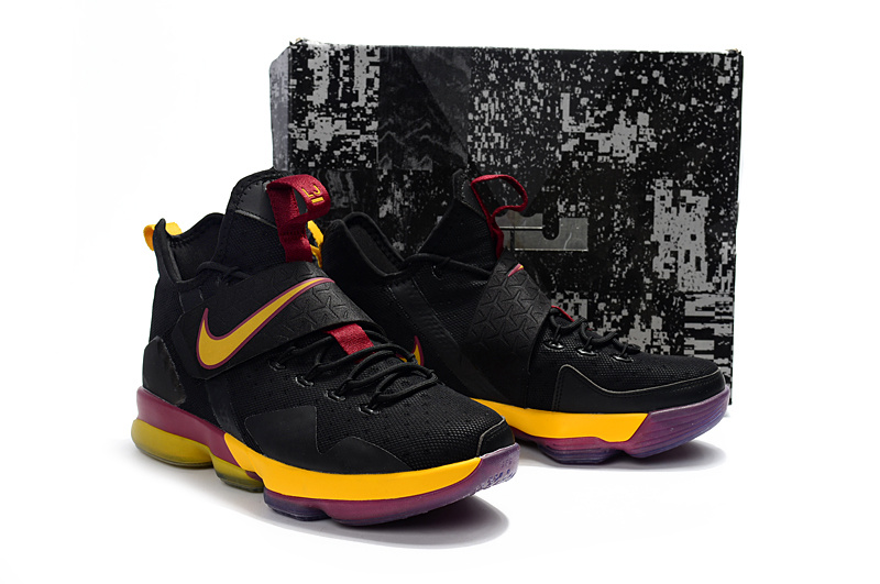 New Men Nike Lebron James 14 Black Yellow Red Shoes