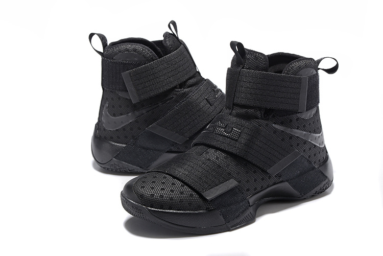 New Men Nike Lebron Soldier 9 All Black Basketball Shoes