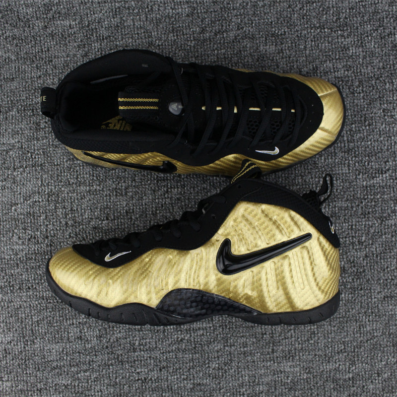 New Nike Air Foamposite Gold Black Shoes